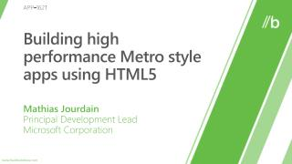 Building high performance Metro style apps using HTML5