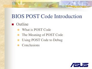 BIOS POST Code Introduction