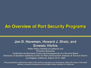 An Overview of Port Security Programs