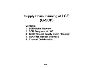 Supply Chain Planning at  LGE (G-SCP)