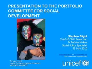 PRESENTATION TO THE PORTFOLIO COMMITTEE FOR SOCIAL DEVELOPMENT