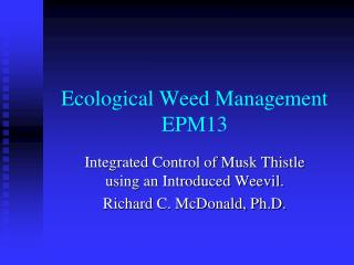 Ecological Weed Management EPM13