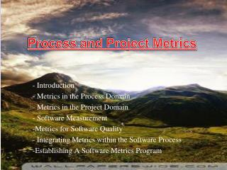Introduction  Metrics in the Process Domain  Metrics in the Project Domain  Software Measurement
