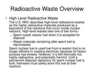 Radioactive Waste Overview
