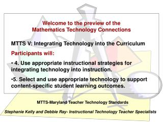 Welcome to the preview of the Mathematics Technology Connections
