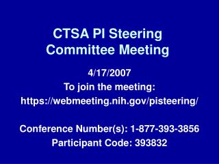 CTSA PI Steering Committee Meeting