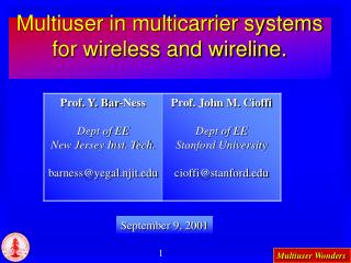 Multiuser in multicarrier systems for wireless and wireline.