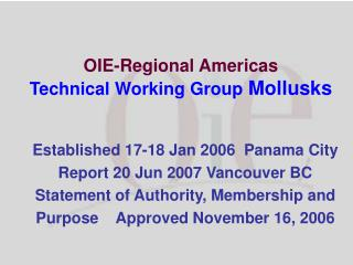 OIE-Regional Americas  Technical Working Group  Mollusks