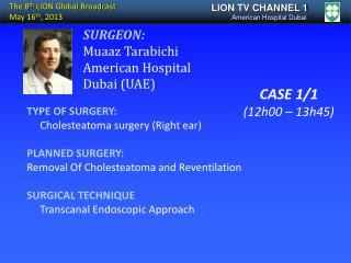 TYPE OF SURGERY:      Cholesteatoma surgery (Right ear) PLANNED SURGERY: