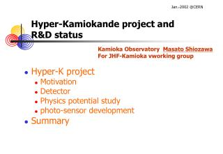 Hyper-Kamiokande project and R&D status