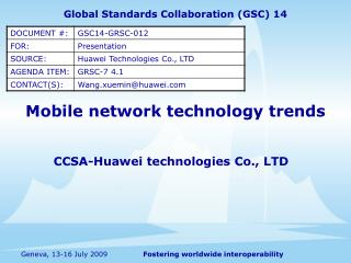 Mobile network technology trends