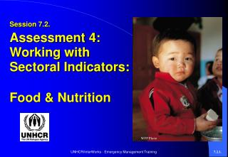 Session 7.2. Assessment 4: Working with Sectoral Indicators:  Food & Nutrition