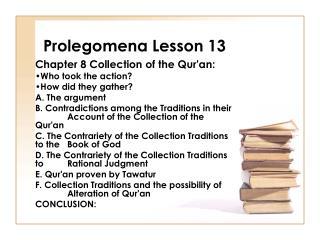 Prolegomena Lesson 13
