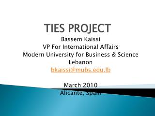 TIES PROJECT