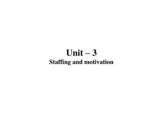 Unit – 3 Staffing and motivation
