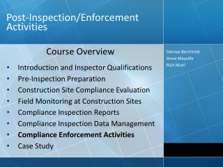 Post-Inspection/Enforcement Activities