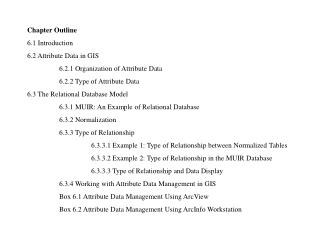 Chapter Outline 6.1 Introduction 6.2 Attribute Data in GIS 	6.2.1 Organization of Attribute Data