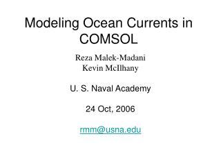 Modeling Ocean Currents in COMSOL