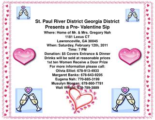 St. Paul River District Georgia District Presents a Pre- Valentine Sip