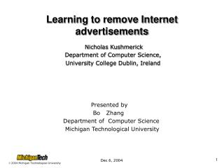 Learning to remove Internet advertisements
