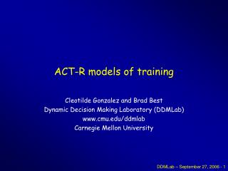 ACT-R models of training