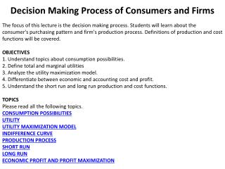 Decision Making Process of Consumers and Firms