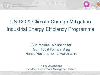 UNIDO & Climate Change Mitigation Industrial Energy Efficiency Programme