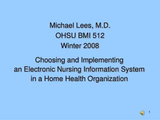 Choosing and Implementing an Electronic Nursing Information System in a Home Health Organization