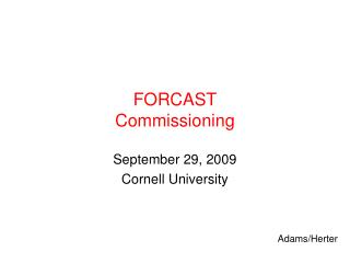 FORCAST Commissioning