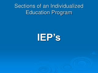 Sections of an Individualized Education Program