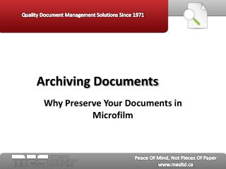 Archiving Documents - MES Hybrid