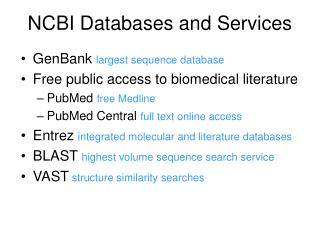NCBI Databases and Services