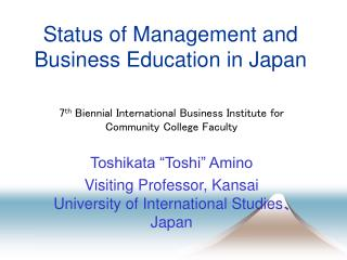 Status of Management and Business Education in Japan