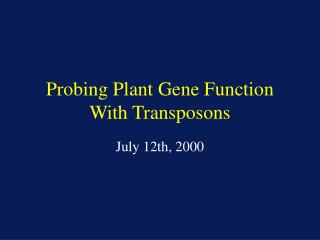Probing Plant Gene Function With Transposons
