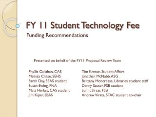 FY 11 Student Technology Fee