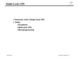 Multi Cycle CPU