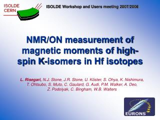 NMR/ON measurement of magnetic moments of high-spin K-isomers in Hf isotopes