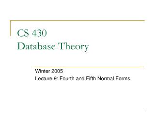 CS 430 Database Theory
