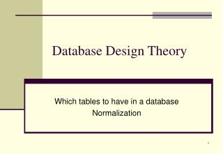 Database Design Theory