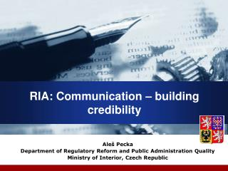 RIA: Communication – building  credibility