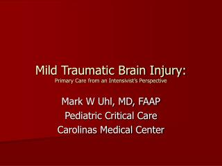 Mild Traumatic Brain Injury: Primary Care from an Intensivist's Perspective