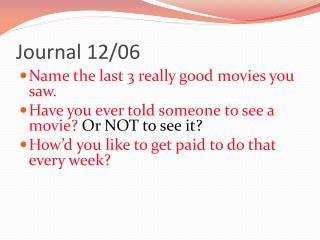 Journal 12/06