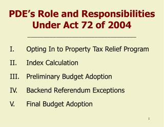 PDE's Role and Responsibilities Under Act 72 of 2004