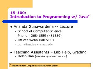 15-100:	 Introduction to Programming w/ Java *