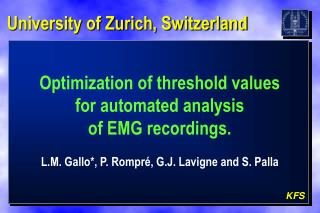 Optimization of threshold values  for automated analysis  of EMG recordings.