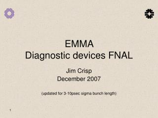 EMMA  Diagnostic devices FNAL