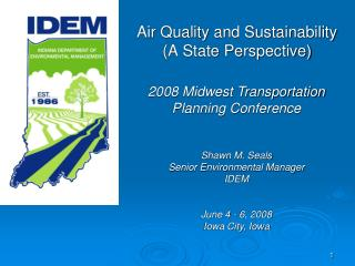 Air Quality and Sustainability (A State Perspective)