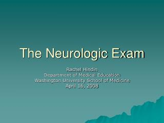 The Neurologic Exam