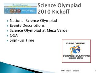 Science Olympiad 2010 Kickoff