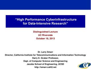 """High Performance Cyberinfrastructure  for Data-Intensive Research"""